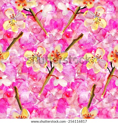Seamless pattern with styled spring cherry blossoms. - stock photo