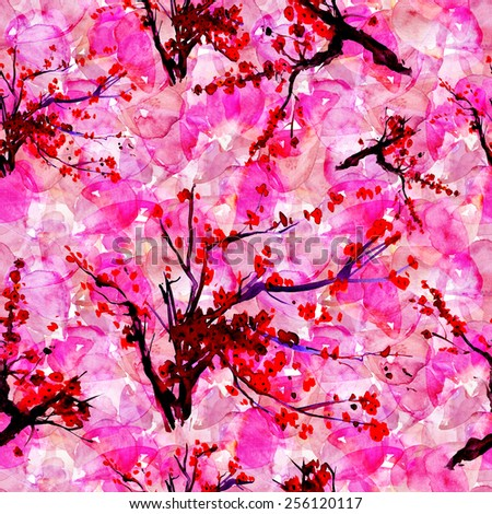 Seamless pattern with styled spring cherry blossoms - stock photo