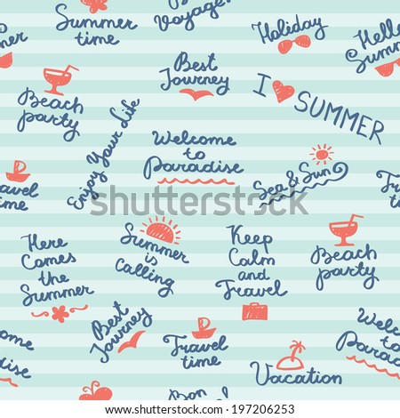 seamless pattern with summer handwritten letterings and symbols - stock photo