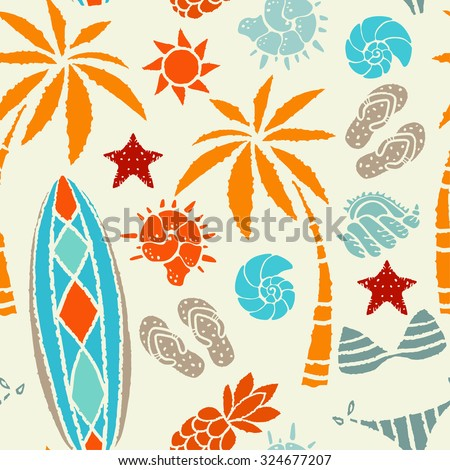 Seamless pattern with sun, palm tree, surfboards, pineapple, flip flop sandals, sea shell, bikini, swimsuits, starfish. Repeating summer print, background texture  - stock photo