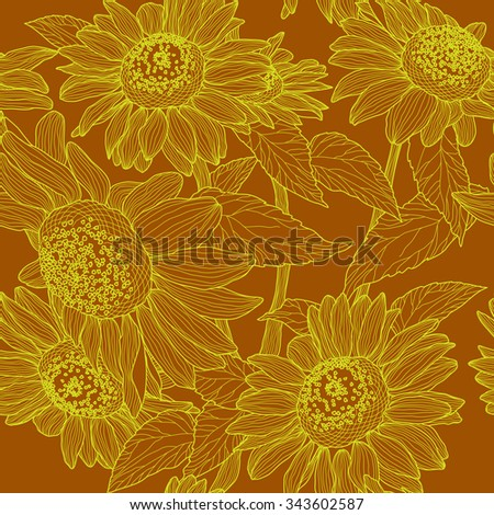 seamless pattern with sunflowers. Raster version - stock photo