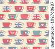 Seamless pattern with teacups. - stock photo