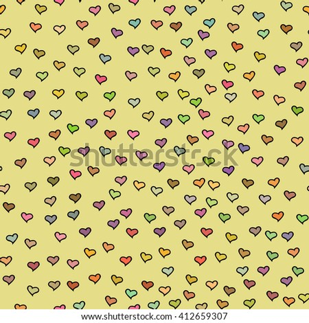 Seamless pattern with tiny colorful hearts. Abstract repeating. Cute backdrop. Yellow background. Template for Valentine's, Mother's Day, wedding, scrapbook, surface textures.  - stock photo