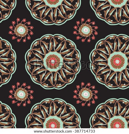 Seamless pattern with traditional Turkish Iznik motifs. Islamic Ottoman Turkish art, ceramic tile surface pattern design, oriental floral pattern - raster version - stock photo