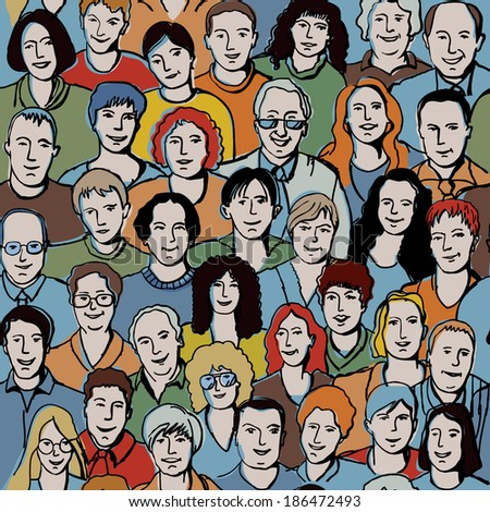 Seamless pattern with unrecognizable people faces. Seamless background with big smiling group people. - stock photo