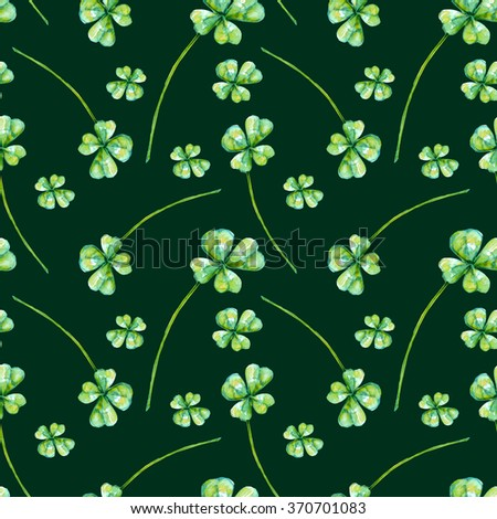 Seamless pattern with watercolor clover leaves - stock photo