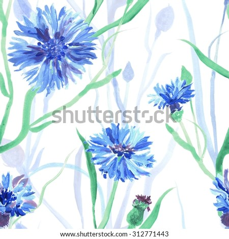 Seamless pattern with watercolor cornflowers. Hand drawn ornament with blue flowers, green stems, leaves on white background. Delicate texture can be used for wallpaper, wrapping paper, printings etc. - stock photo