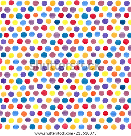 Seamless pattern with watercolor dots a white background. Hand drawn circles ornament. Round shapes. Grunge colorful rounds shapes. - stock photo