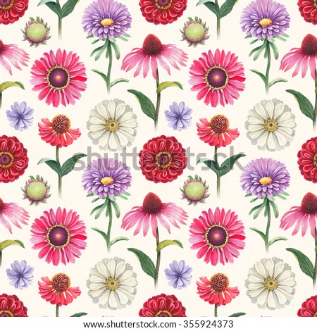 Seamless pattern with watercolor flowers - stock photo