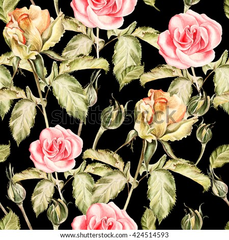 Seamless pattern with watercolor flowers. Rose.  Hand drawn. - stock photo