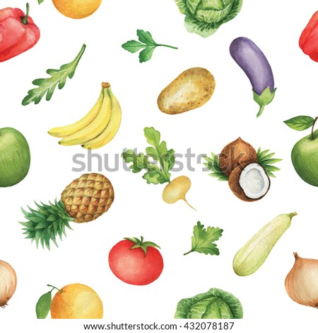 Seamless pattern with watercolor fruits and vegetables. Hand drawn food texture with coconut, banana, pineapple, tomato, turnips, potatoes, eggplant, zucchini, apple, cabbage, orange. - stock photo