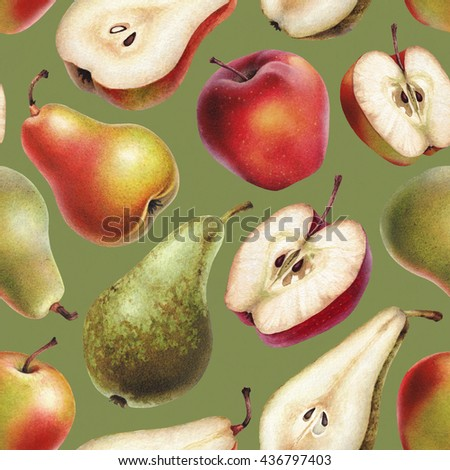 Seamless pattern with watercolor illustrations of apples and pears - stock photo