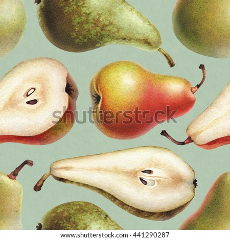 Seamless pattern with watercolor illustrations of pears  - stock photo