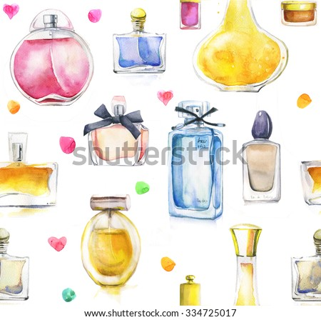 seamless pattern with watercolor perfumes - stock photo