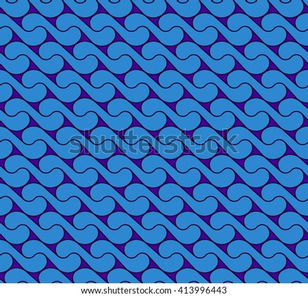 seamless pattern with waves yin yang blue JPEG - stock photo