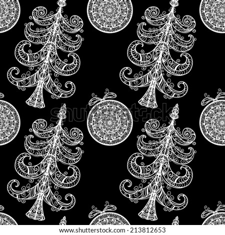 Seamless pattern with white Christmas tree and Christmas ball on a black background. Endless print texture. Fabric design. Wallpaper - raster version  - stock photo