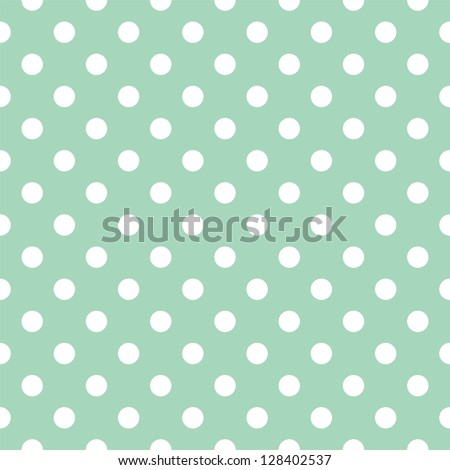Seamless pattern with white polka dots on a retro vintage mint green background. For desktop wallpaper, web design, cards, invitations, wedding or baby shower albums, backgrounds, arts and scrapbooks - stock photo