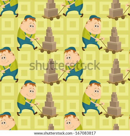 Seamless pattern with workers, porters with baggage trolleys, cartoon characters on abstract yellow background. - stock photo
