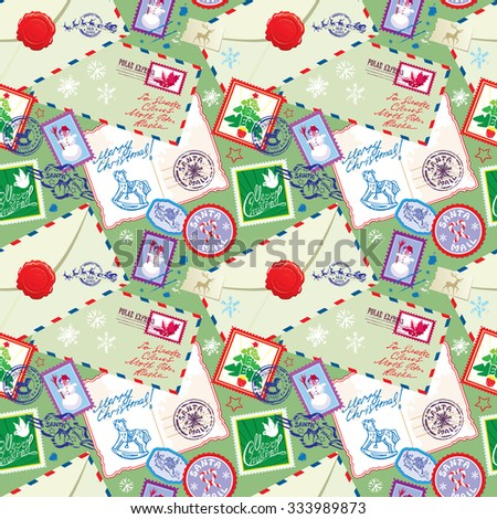 Seamless pattern with xmas stamps, envelops, labels, cards, hand written texts, Christmas and New Year postage background for winter holidays design. Raster version - stock photo
