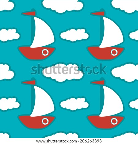 Seamless pattern with yachts and clouds - raster version - stock photo
