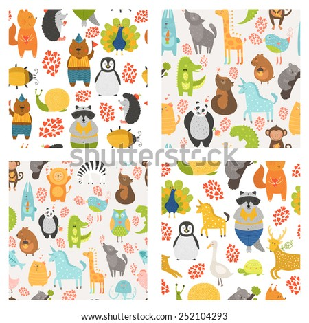 Seamless patterns with cute animals. Collection zoo backgrounds with cat, dog, owl, rabbit, bear, panda, monkey, alligator, bird,unicorn, lion, koala an more - stock photo