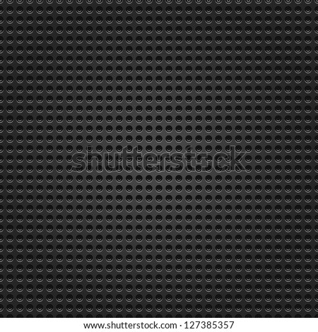 Seamless perforated black round dot texture metal surface dark gray background. This image for clip-art design element is a bitmap copy of my vector illustrations - stock photo