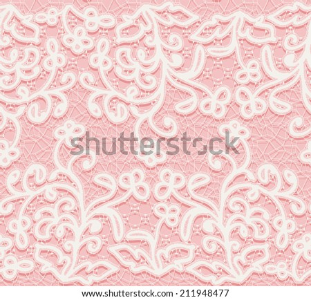 Seamless pink and white lace pattern. - stock photo