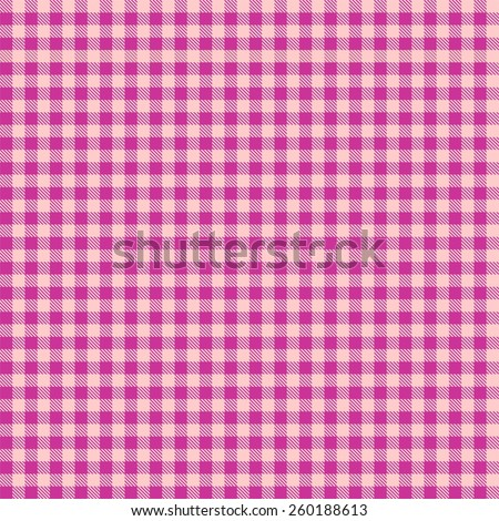 Seamless pink checkered tablecloth pattern - stock photo