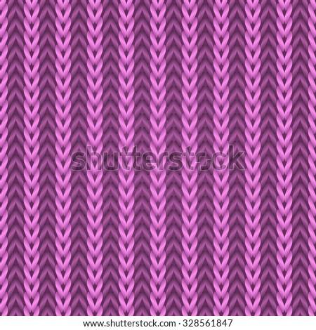 Seamless pink knitting fabric pattern. - stock photo