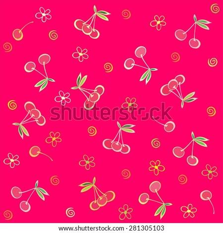 Seamless pink pattern with cherries. Summer fruit illustration.  Illustration - stock photo