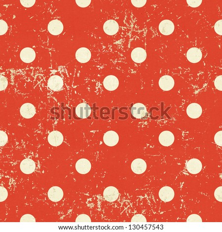 Seamless polka dot pattern on red paper grunge background - stock photo