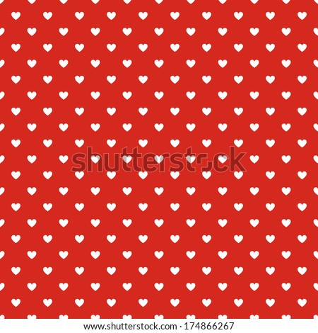 Seamless polka dot red pattern with hearts. - stock photo