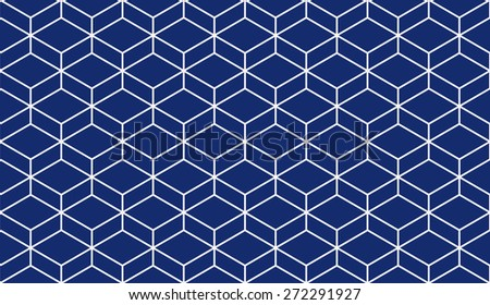 Seamless porcelain indigo blue and white isometric parallelepiped pattern - stock photo