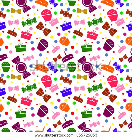 Seamless raster pattern. Chaotic bright background with colorful sweets and gifts on the white backdrop - stock photo