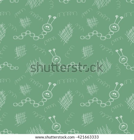 Seamless raster pattern. Cute green background with hand drawn caterpillars and scribbles. Series of Cartoon, Doodle, Sketch and Scribble Seamless Patterns. - stock photo
