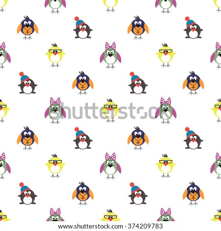 Seamless raster pattern with animals, cute background with birds, penguins and chicks. Series of Animals and Insects Seamless Patterns. - stock photo