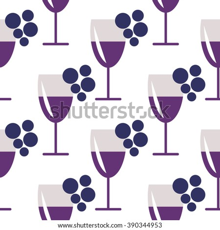 Seamless raster pattern with closeup wineglasses with red wine and bunches of grape on the white background. Series of Food and Drink Seamless Patterns. - stock photo