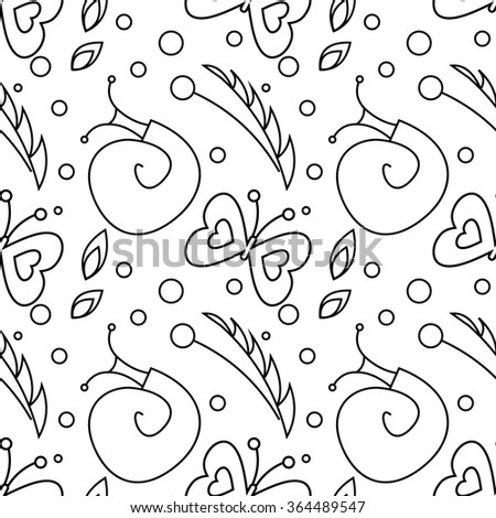 Seamless raster pattern with insects, black and white background with snails, butterflies and dots. - stock photo