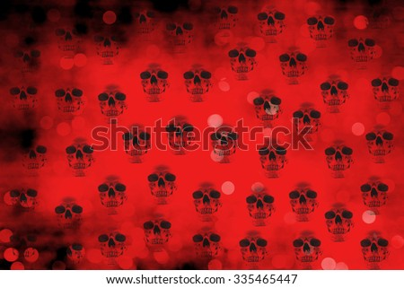 seamless red background with skulls - stock photo