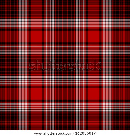 Seamless Red, White, & Black Plaid - stock photo