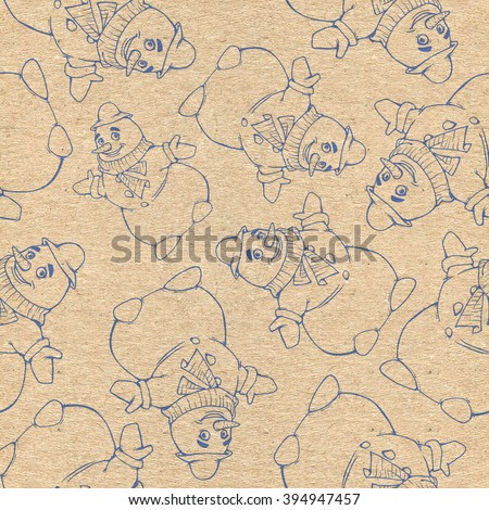 Seamless repeated background with a christmas drawing of a funny snowman - stock photo
