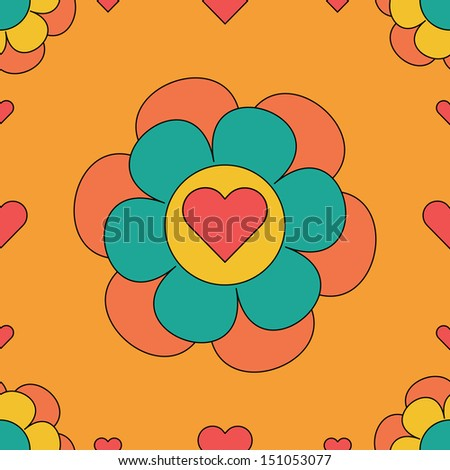 seamless repeating illustrated background tile of a flower with a heart center  - stock photo