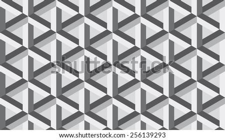 Seamless retro op art hex construction optical illusion pattern - stock photo