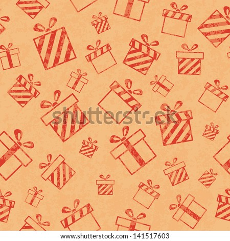 Seamless retro pattern with gift boxes - stock photo
