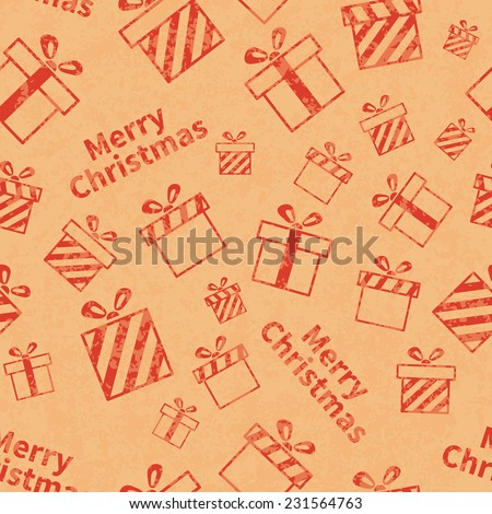 Seamless retro pattern with gift boxes and Merry Christmas text. Christmas gift background. Wrapping paper  - stock photo