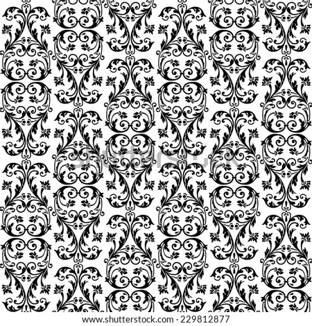 Seamless rich background in Renaissance style. Floral patterns - stock photo