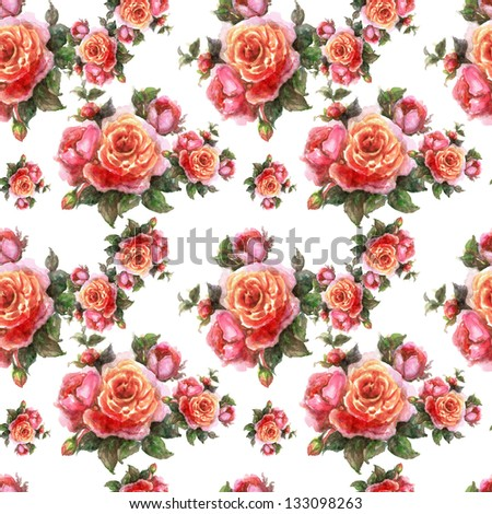 Seamless Roses Pattern - stock photo