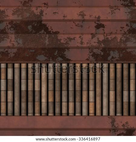 Seamless rusty bulkhead metal pattern   - stock photo
