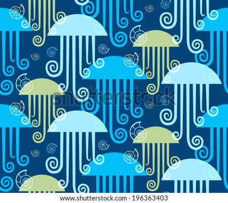Seamless sea pattern. Background with jellyfishes and seashells. Decorative illustration for print, web - stock photo