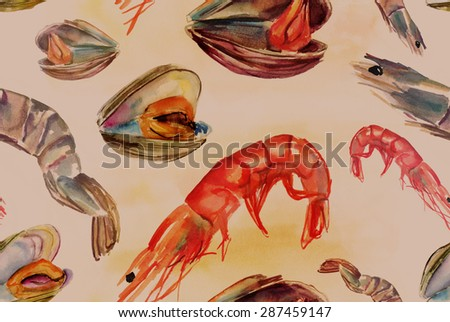 Seamless seafood background pattern with shrimps and mussels, watercolour drawings, toned - stock photo